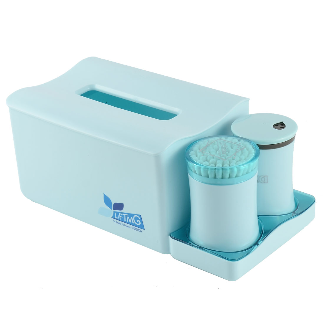 Home Office Dresser Plastic Organizer Holder Toothpicks Cotton Swabs Tissue Box Set Blue
