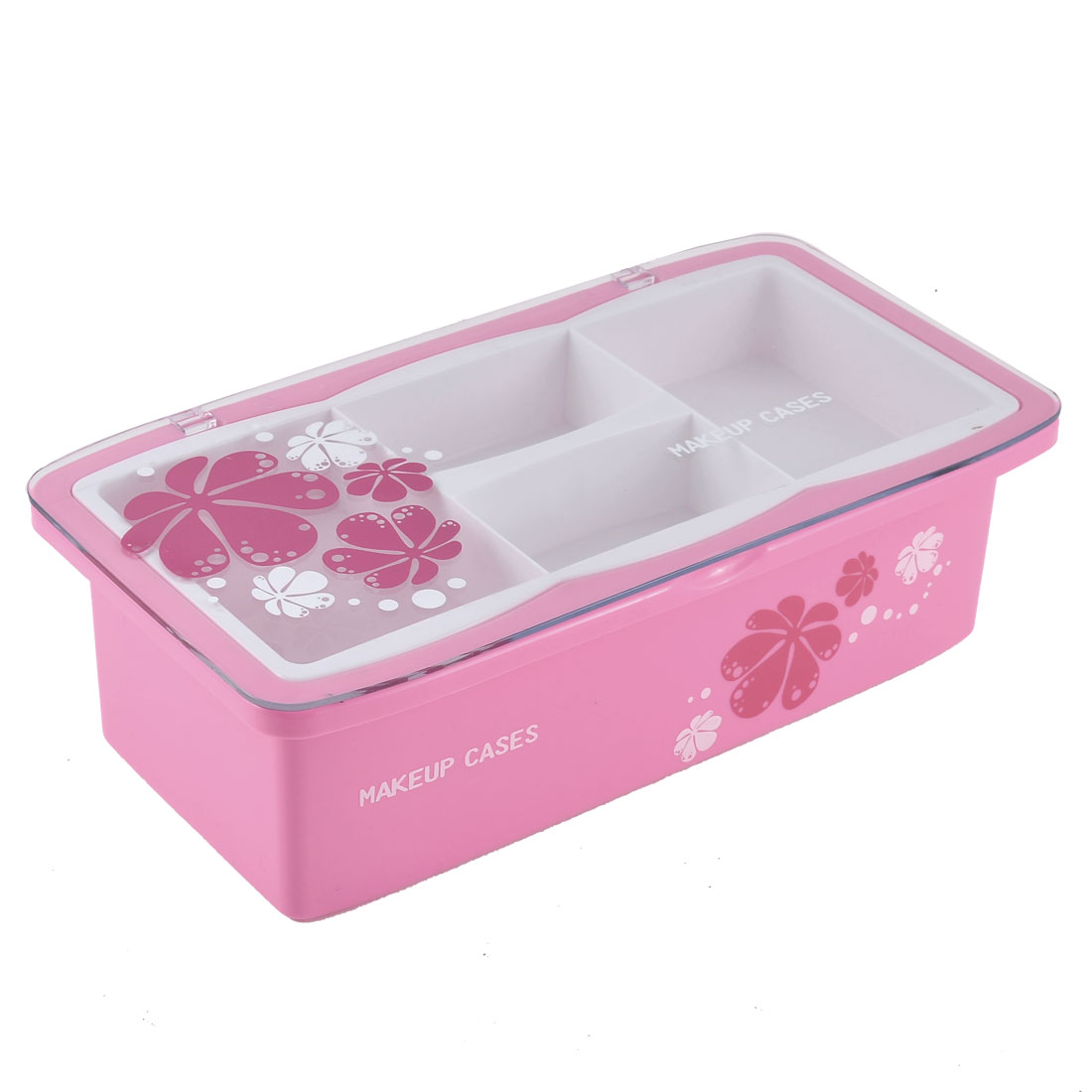 Home Dresser Flower Prints Plastic Two Layers Cosmetic Makeup Case Box Container Pink