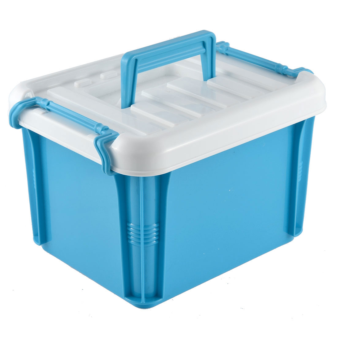Household Office PP Two Layers Cotton Swabs Thermometer Organize Storage Case Box Container Blue