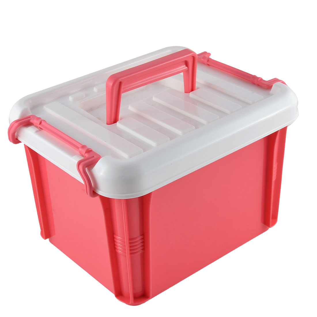 Household Dormitory Plastic Double Layer Storage Box Case Container Holder Red White