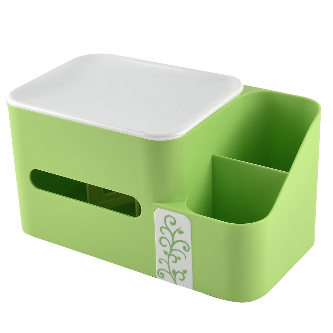 Home Office Desk Plastic Special Spring Design Pen Tissue Holder Green w Storage Box Case