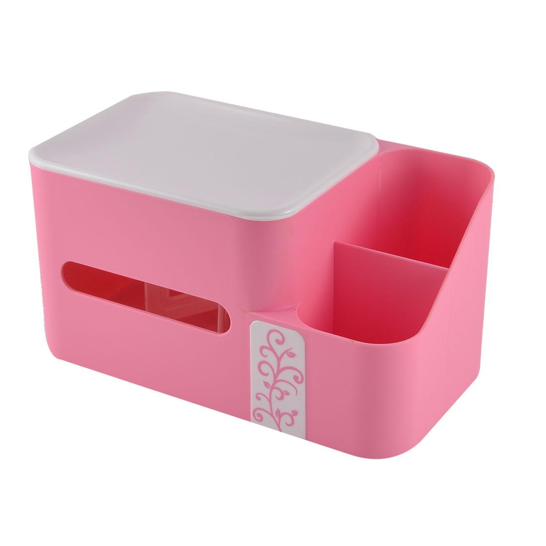 Home Office Desk Plastic Special Spring Design Pen Tissue Holder Pink w Storage Box Case