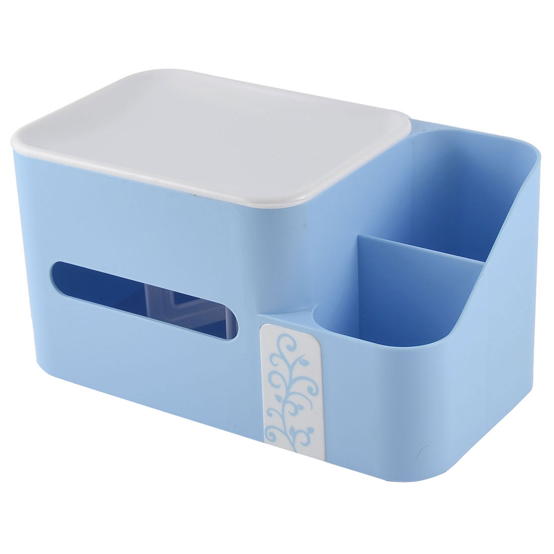 Home Office Desk Plastic Special Spring Design Pen Tissue Holder Blue w Storage Box Case