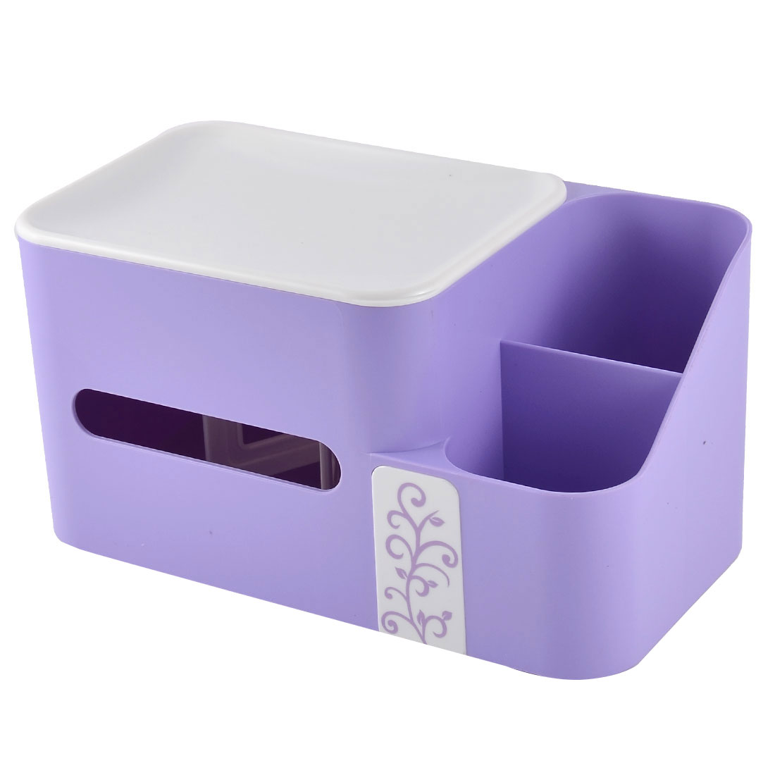 Home Office Desk Plastic Special Spring Design Pen Tissue Holder Purple w Storage Box Case