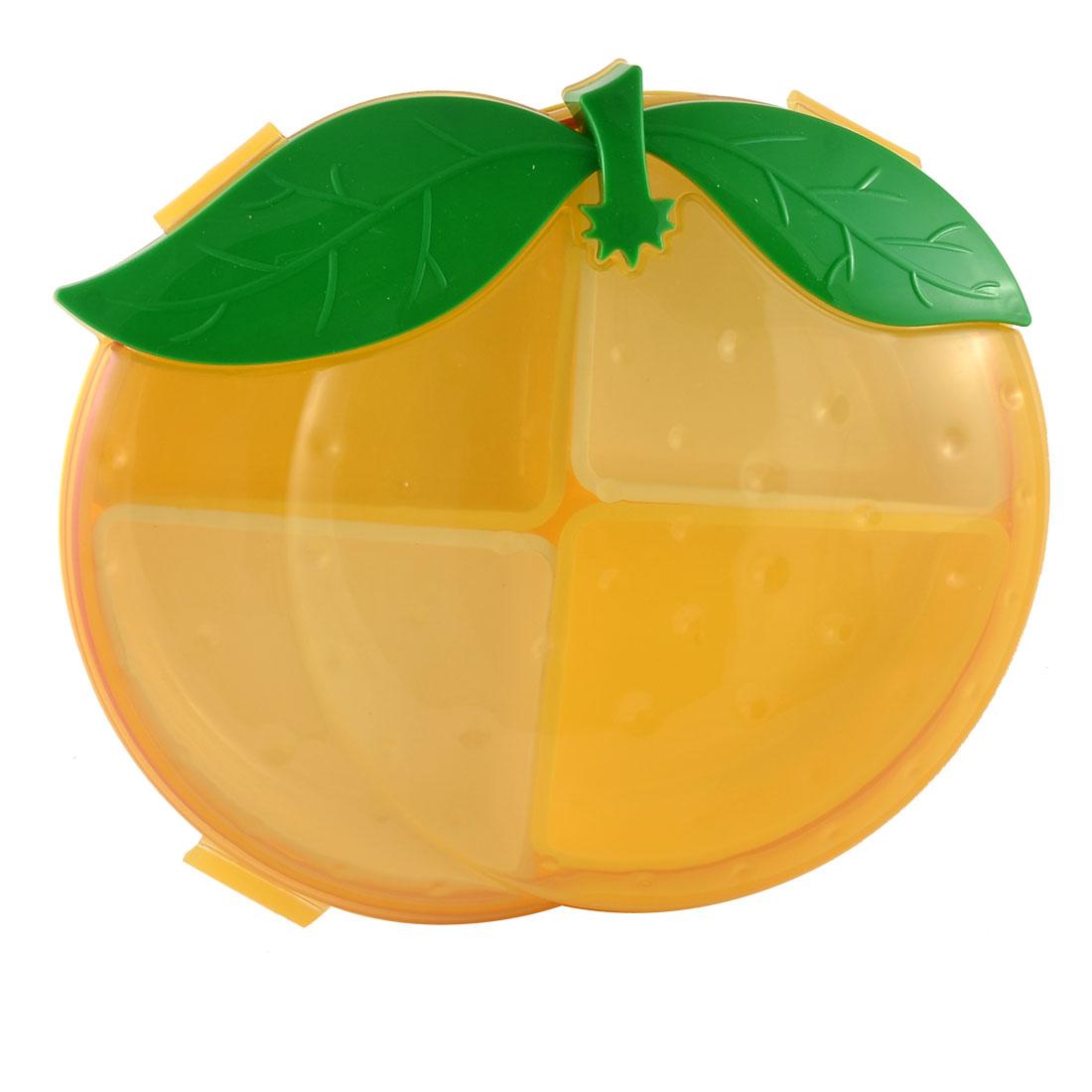 Orange Shaped Plastic 4 Compartments Detachable Sealed Candy Nut Dessert Snacks Box Storage