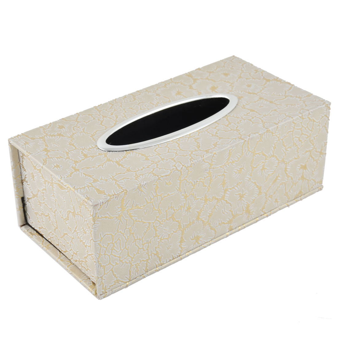 Home Bathroom Rectangular Flower Printed Paper Tissue Box Case Holder Ecru Gold Tone