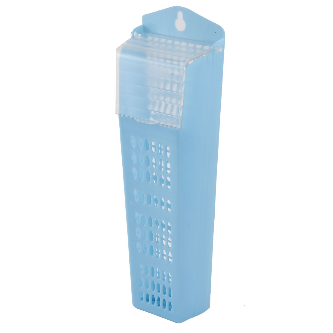Home Rectangle Plastic Hollow Out Spoon Fork Chopsticks Organizer Holder Blue