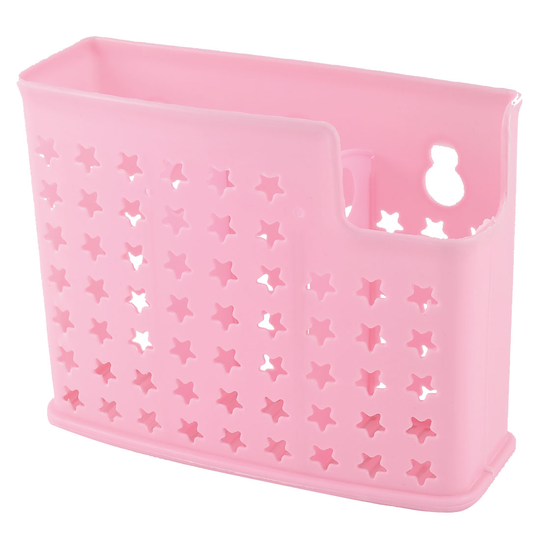 Kitchenware Plastic 3 Compartments Hollow Out Stars Dripping Chopsticks Spoon Case Holder Pink