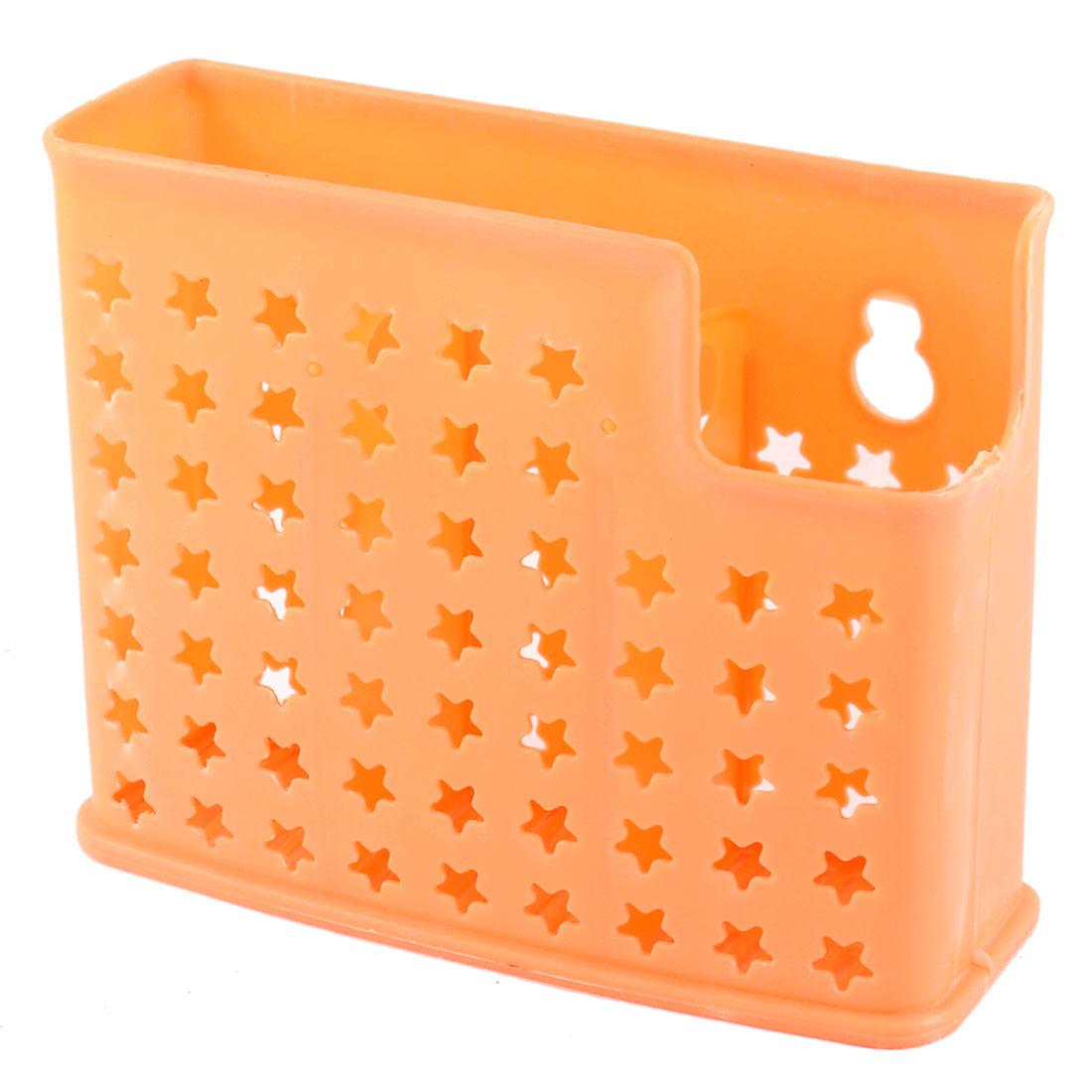 Home Kitchen Hollow Star Plastic 3 Compartments Chopsticks Box Case Organizer Holder Yellow