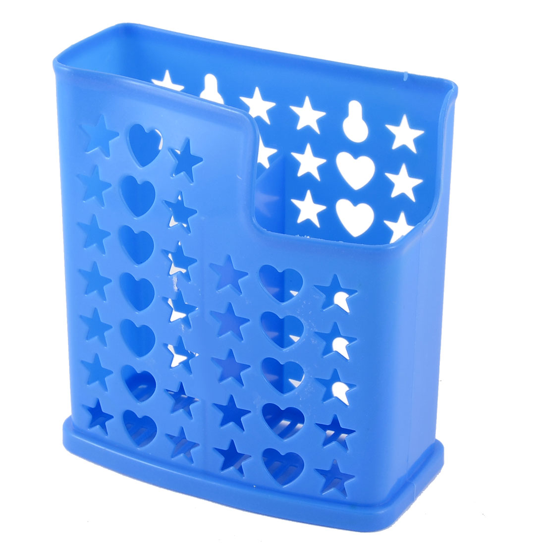 Restaurant Household Hollow Heart Star Plastic Fork Spoon Chopsticks Cage Holder Organizer Blue