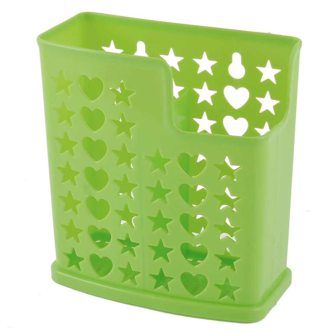 Household Rectangle 2 Compartments Hollow Out Hole Spoon Chopsticks Holder Box Green