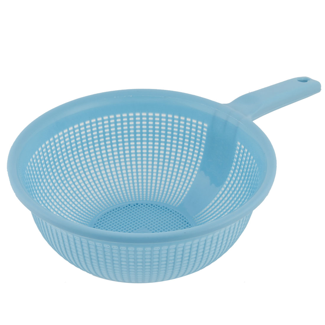 Kitchenware Round Hollow Out Plastic Fruit Vegetables Rice Dripping Wash Storage Basket Holder Sky Blue
