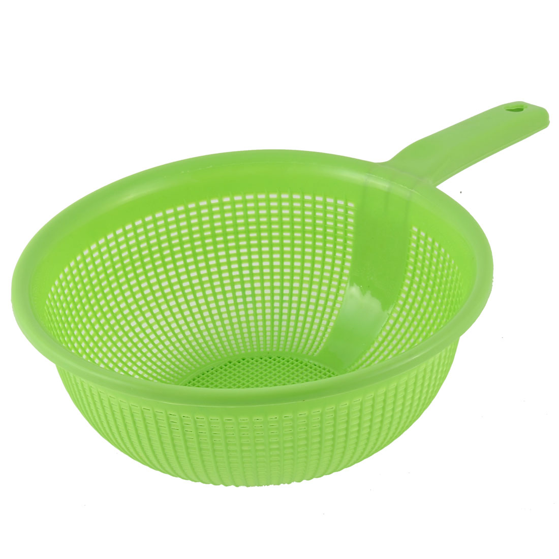 Household Drain Round Hollow Out Plastic Vegetables Fruit Rice Wash Storage Basket Green