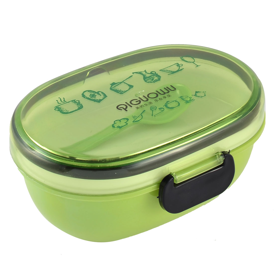 Tableware Oval Shaped Plastic Double Layer Lunch Sushi Food Box Bowl Bento Container Lime Green
