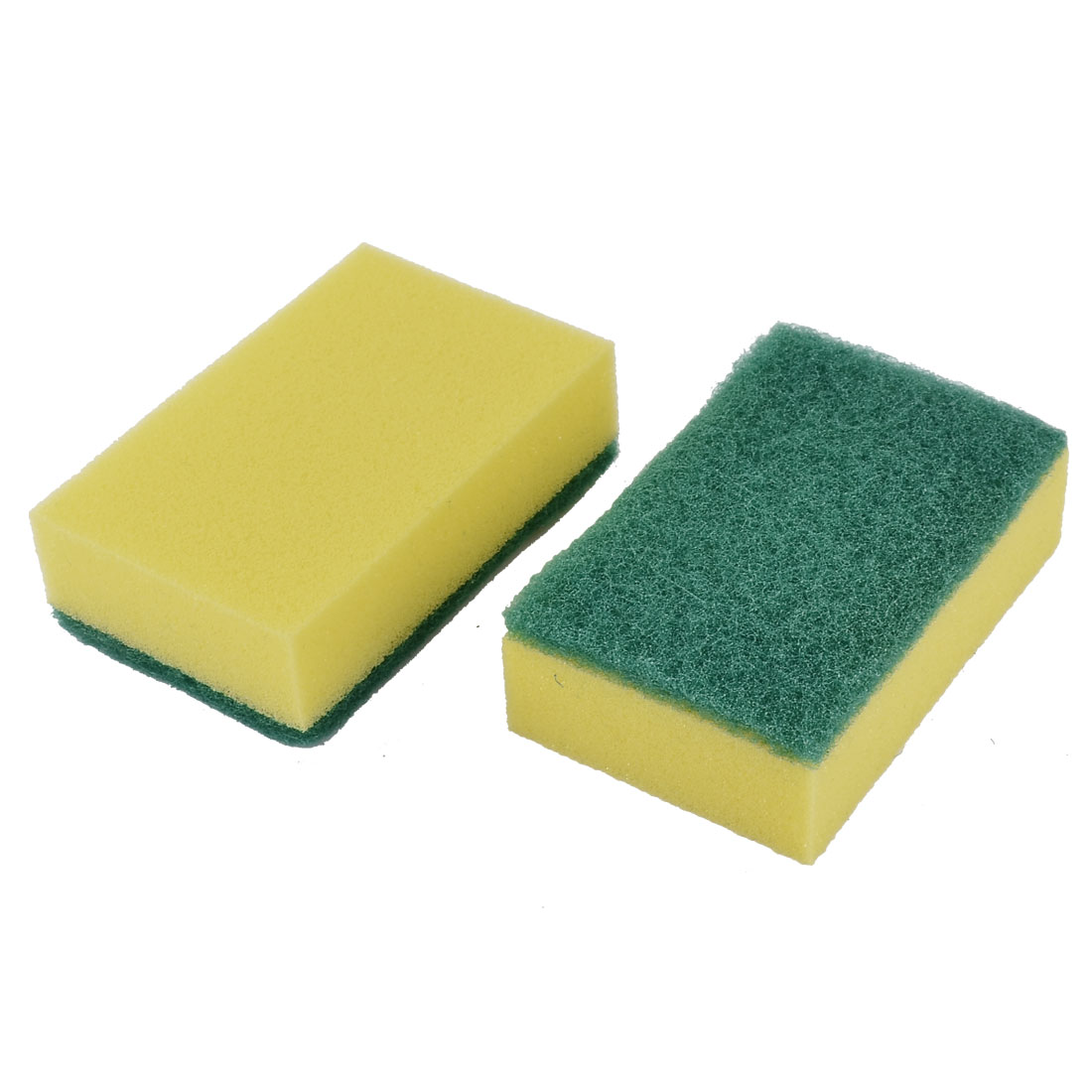 Home Kitchenware Cleaner Bowl Washing Sponge Scouring Dish Cleaning Pads Yellow Green 2pcs