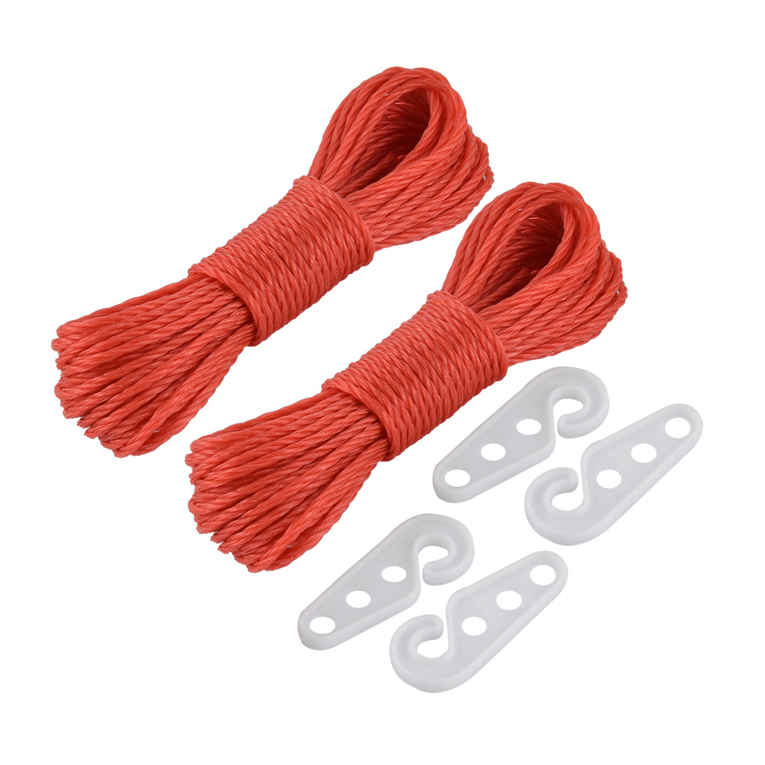 Home Laundry Outdoor Nylon Hanging Clothes Rope Line Clothesline Red 10m Length 2pcs