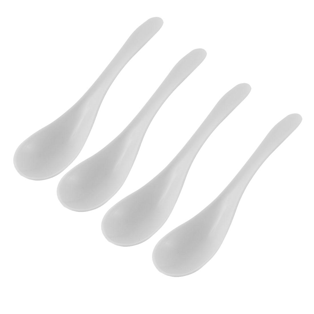 "Kitchenware Platic Soup Porridge Food Rice Spoon Ladle 5.7"" Length 4pcs White"
