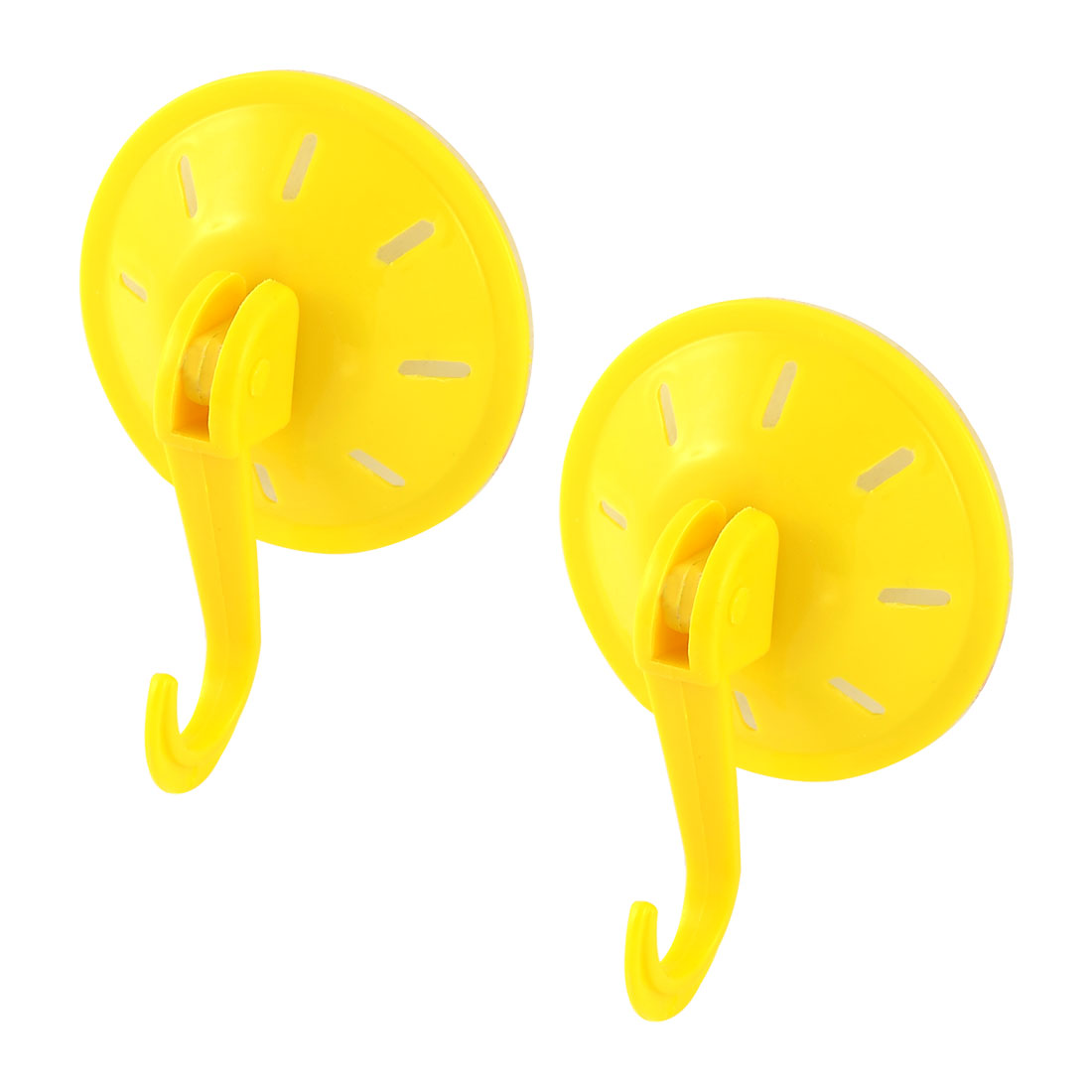 Household Bathroom Plastic Wall-mounted Single Hanger Suction Cup Hook Yellow 2pcs
