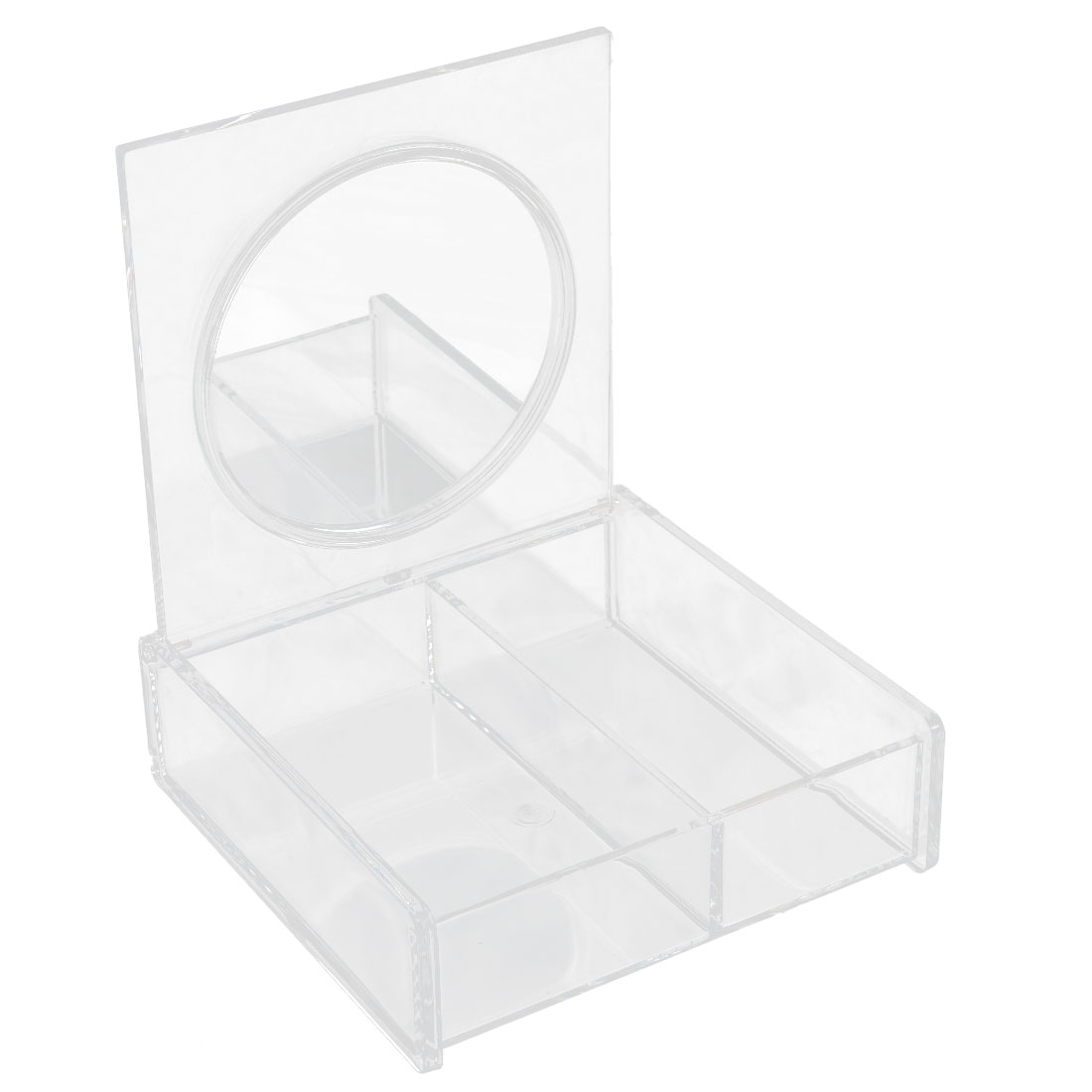 Bedroom Dresser Acrylic 2 Compartments Cosmetics Organizer Makeup Case Box Holder Clear