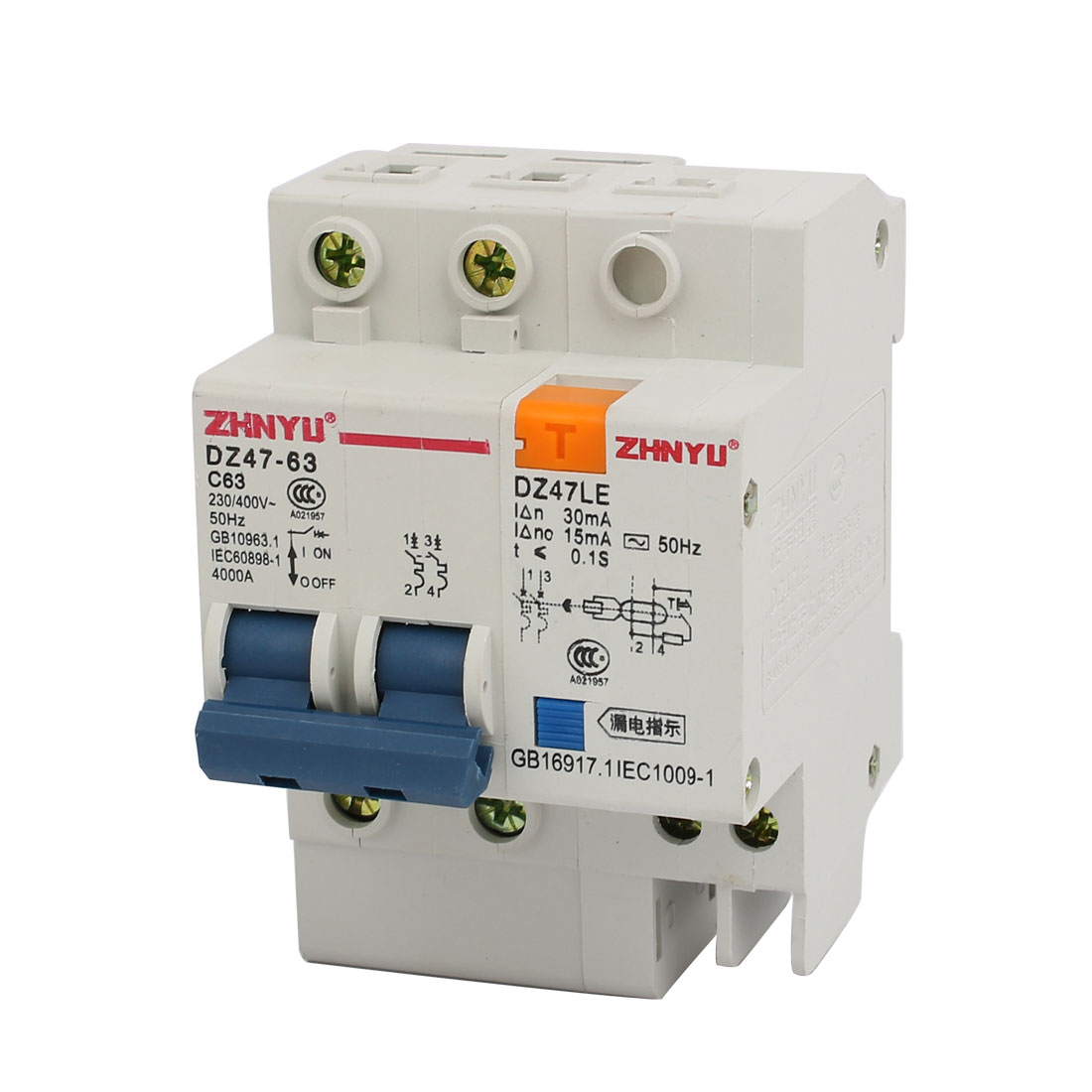 4000A Overload Protection 2P DIN Rail Circuit Breaker DZ47-63 C63