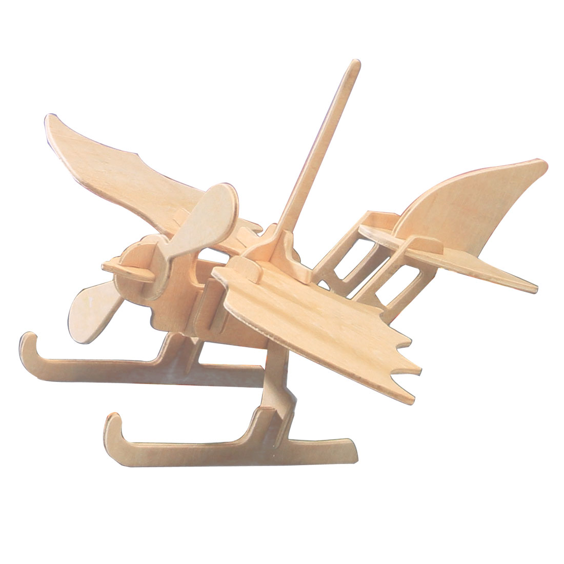 Woodcraft Emulation Sea Plane Model 3D Assemble Puzzle Wood Color
