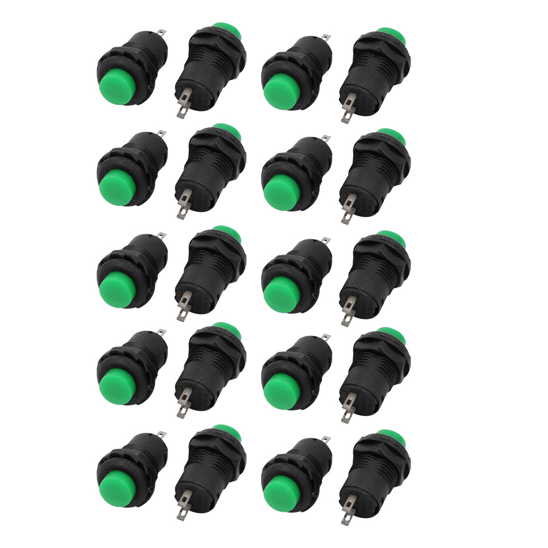 20Pcs Green Round Cap AC 3A/125V 1.5A/250V NO SPST Momentary Push Button Switch