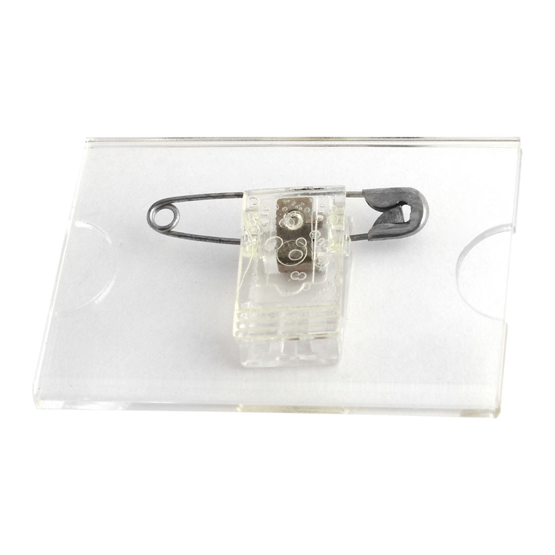 Office Plastic Business Card Name Tag Safety Pin Clip Holder Clear Silver Tone