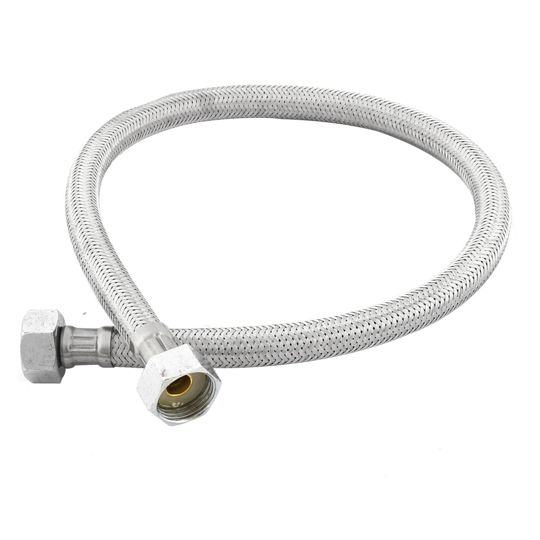 Home Bathroom Shower Hose 20mm Thread Stainless Steel Silver Tone 60cm Length