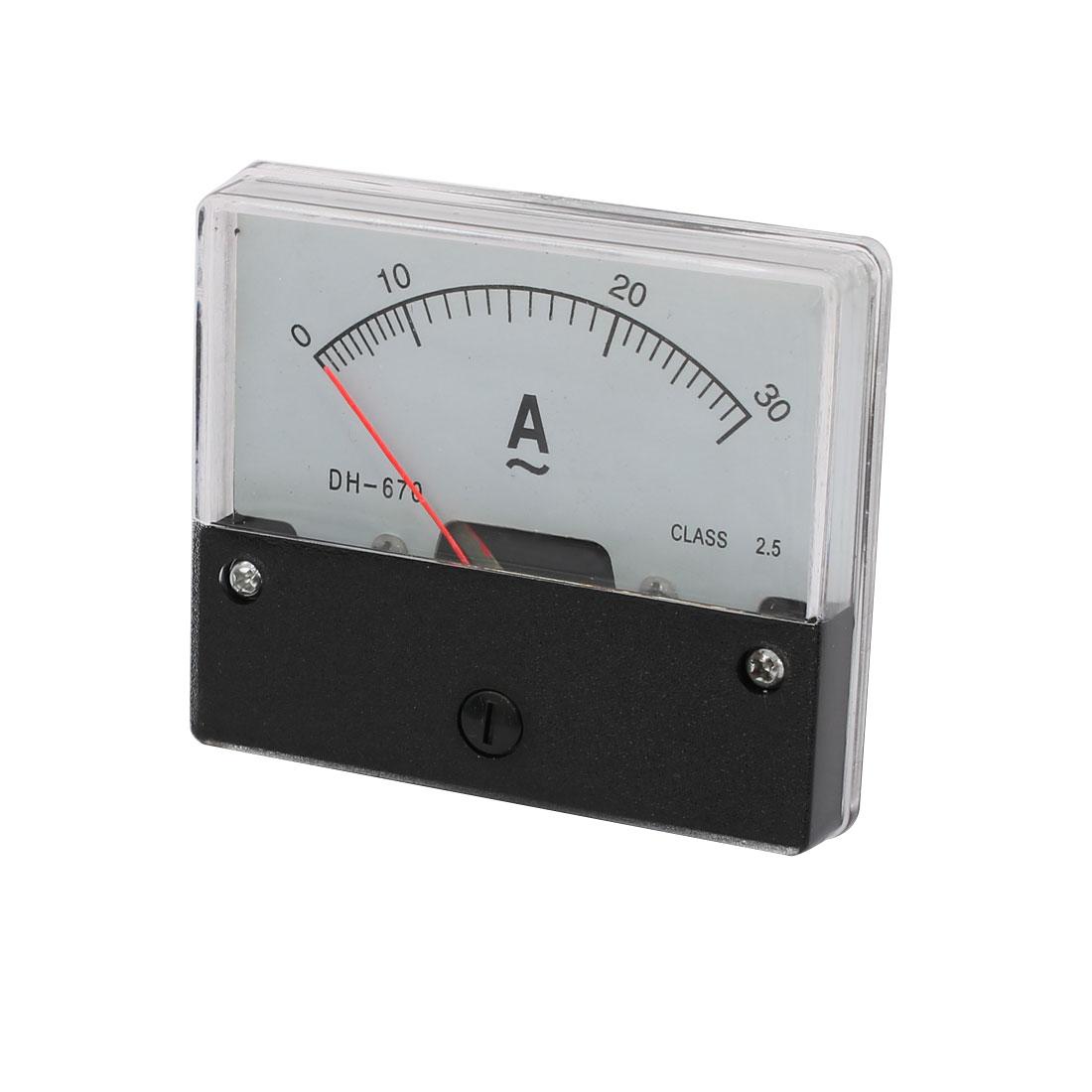 AC 0-30A Class 2.5 Analog Current Rectangle Panel Meter Ammeter Gauge