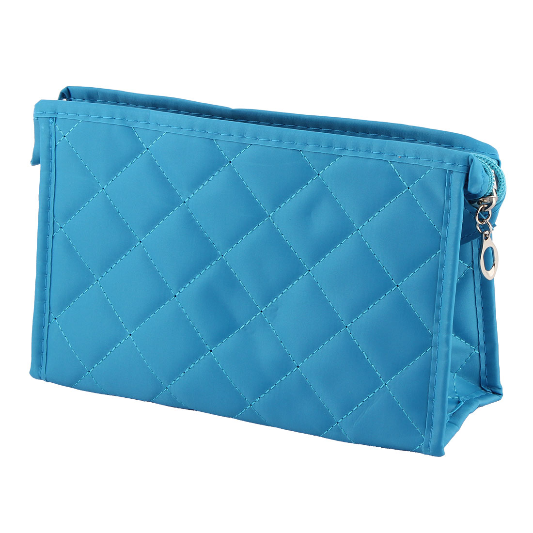Household Women Travel Polyester Zippered Jewelries Holder Cosmetic Bag Blue