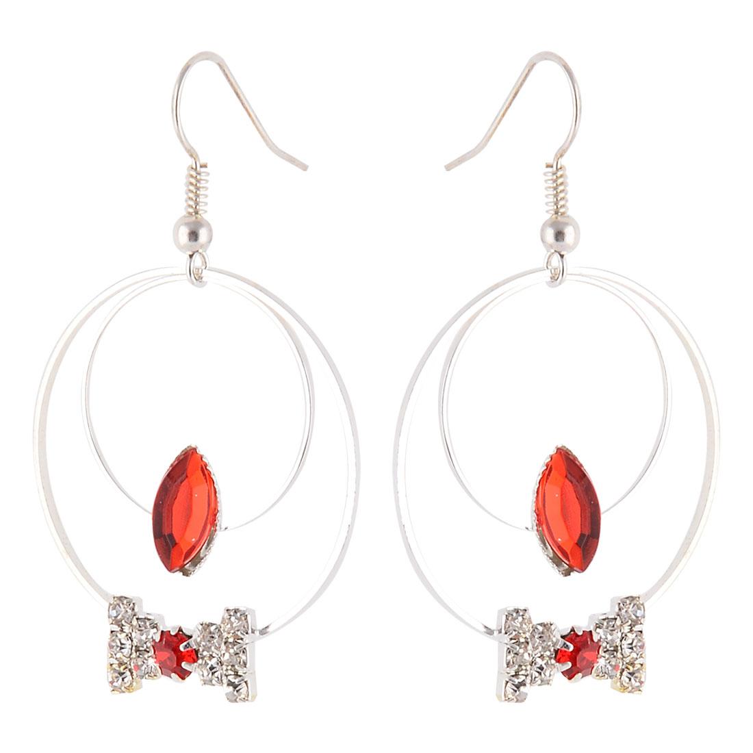 Women Accessory Metal Double Rings Dangling Pendants Ornament Hook Earrings Pair