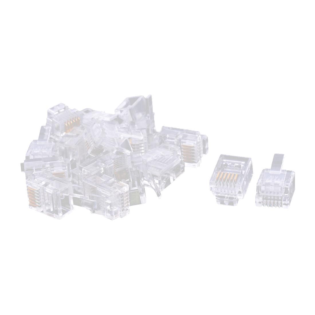 Plastic Housing 6P6C RJ12 Network Cable Crimp Adapter Connector Clear 16 PCS