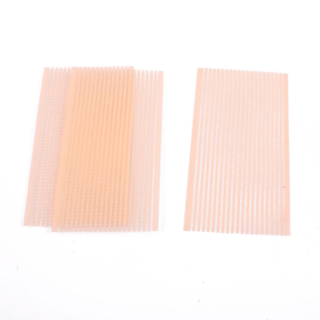 Women Rectangular Shaped Hair Fringe Holder Sticker Light Orange 3 Pcs