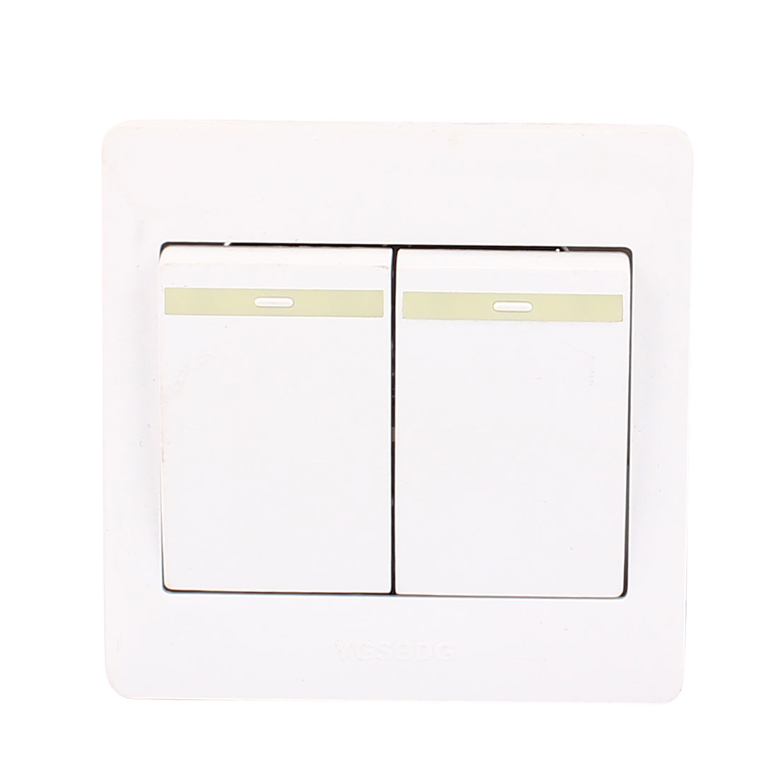 AC 250V 10A 2 Gang 1 Way On/Off 86Type Plastic Housing Wall Light Switch