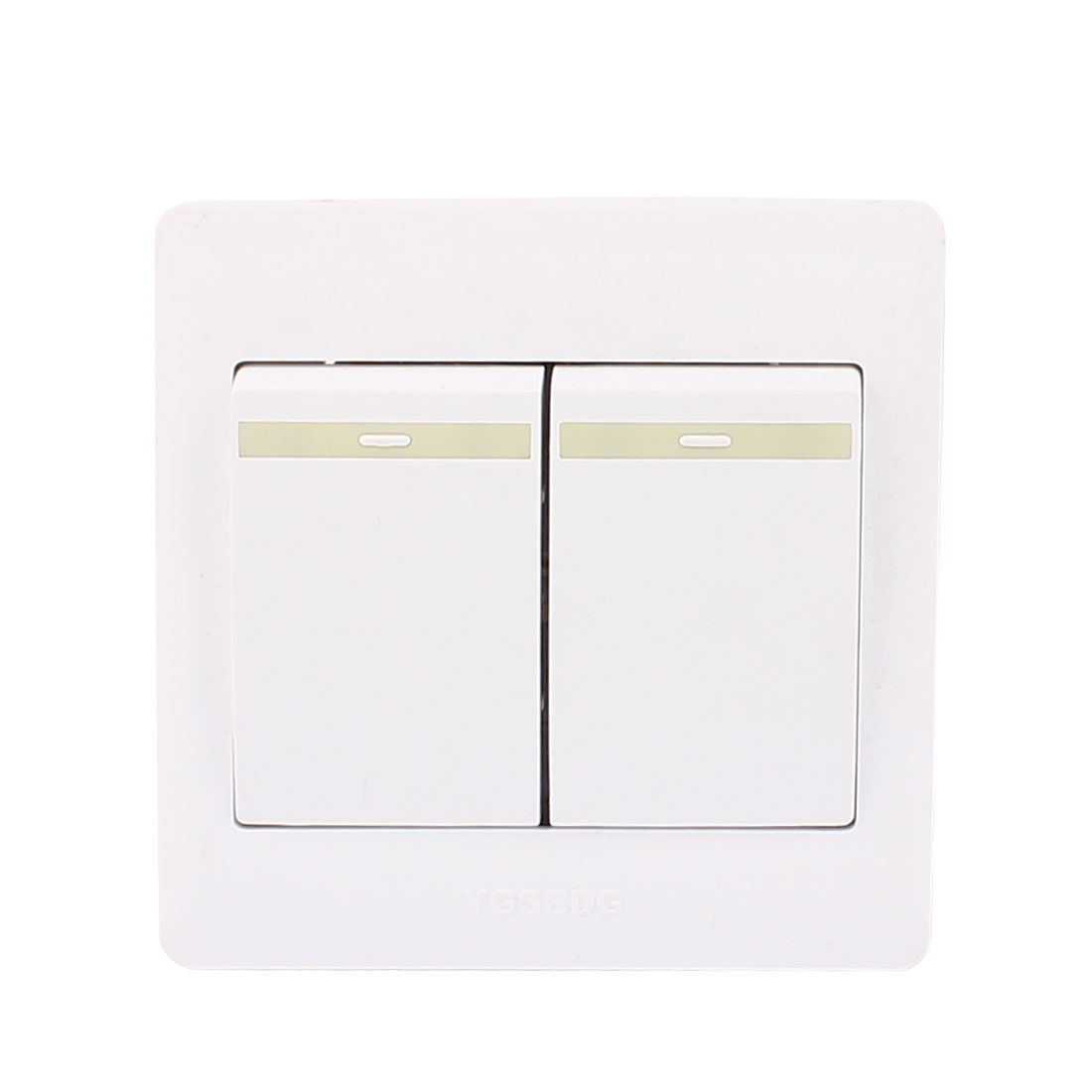 AC 250V 10A 2 Gang 2 Way On/Off 86Type Plastic Housing Wall Light Switch