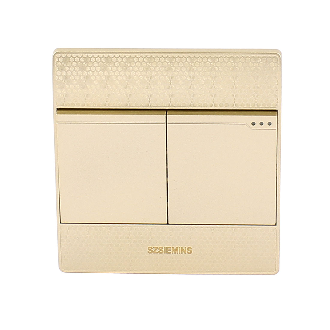 AC 250V 10A 2 Gang 1 Way On/Off 86 Type Press Button Wall Lamp Switch Champagne Gold
