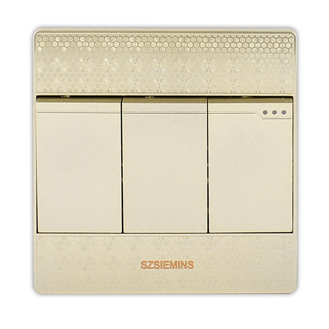 AC 250V 10A 3 Gang 1 Way On/Off Wall Mounting Press Button Switch Light Control Champagne Gold