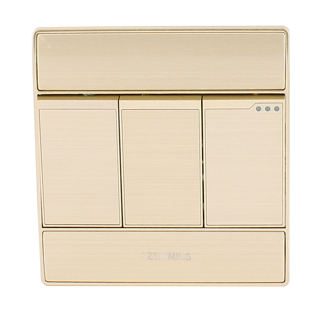 AC 250V 10A 3 Gang 1 Way On/Off Aluminum Press Button Wall Mounting Switch Light Control Champagne Gold