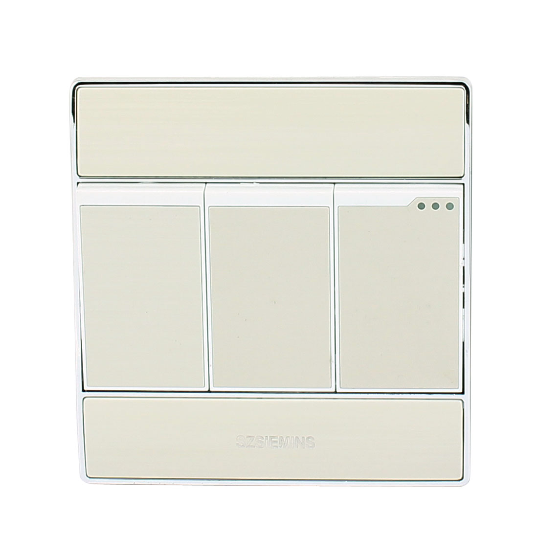 AC 250V 10A 3 Gang 2 Way On/Off Press Button Wall Switch Light Control Silver Tone For Home Mounting