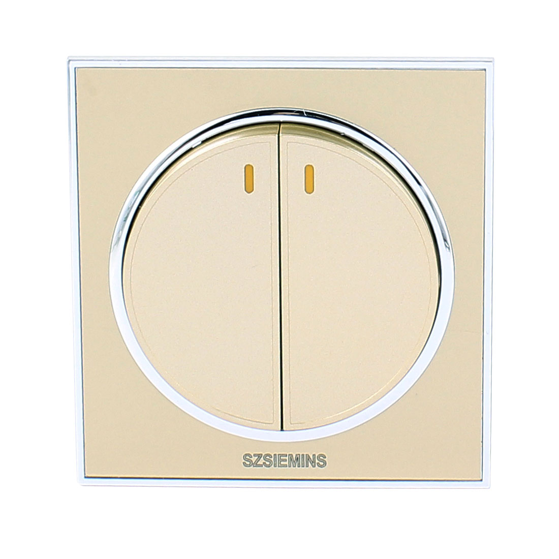 AC 250V 10A 2 Gang 2 Way On/Off Circular Press Button PMMA Wall Light Switch Champagne Gold For Home Decor