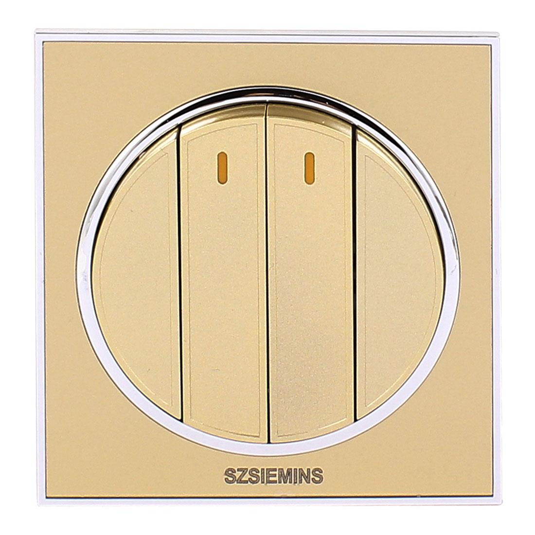 AC 250V 10A 4 Gang 2 Way On/Off PMMA Golden Modern Design Wall Light Switch