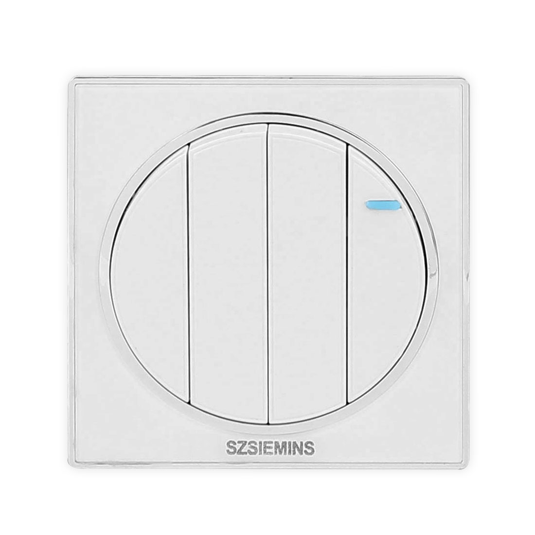AC 250V 16A 4 Gang 2 Way On/Off Circular Design Press Button PMMA Wall Switch Light Control White