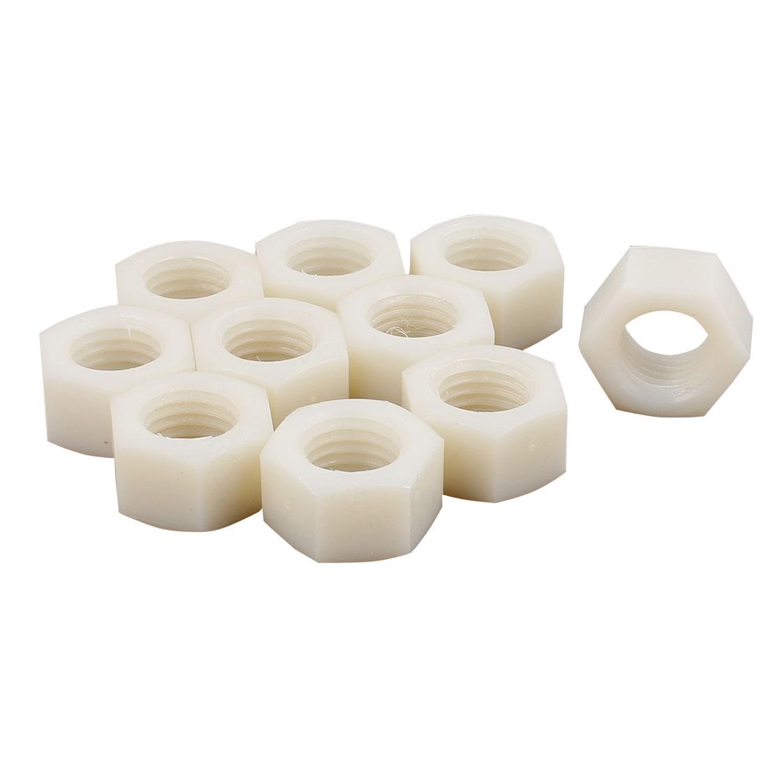 10pcs Pack Of Metric M20 Insert Lock Nylon Full Hex Nuts Nylon Off-White