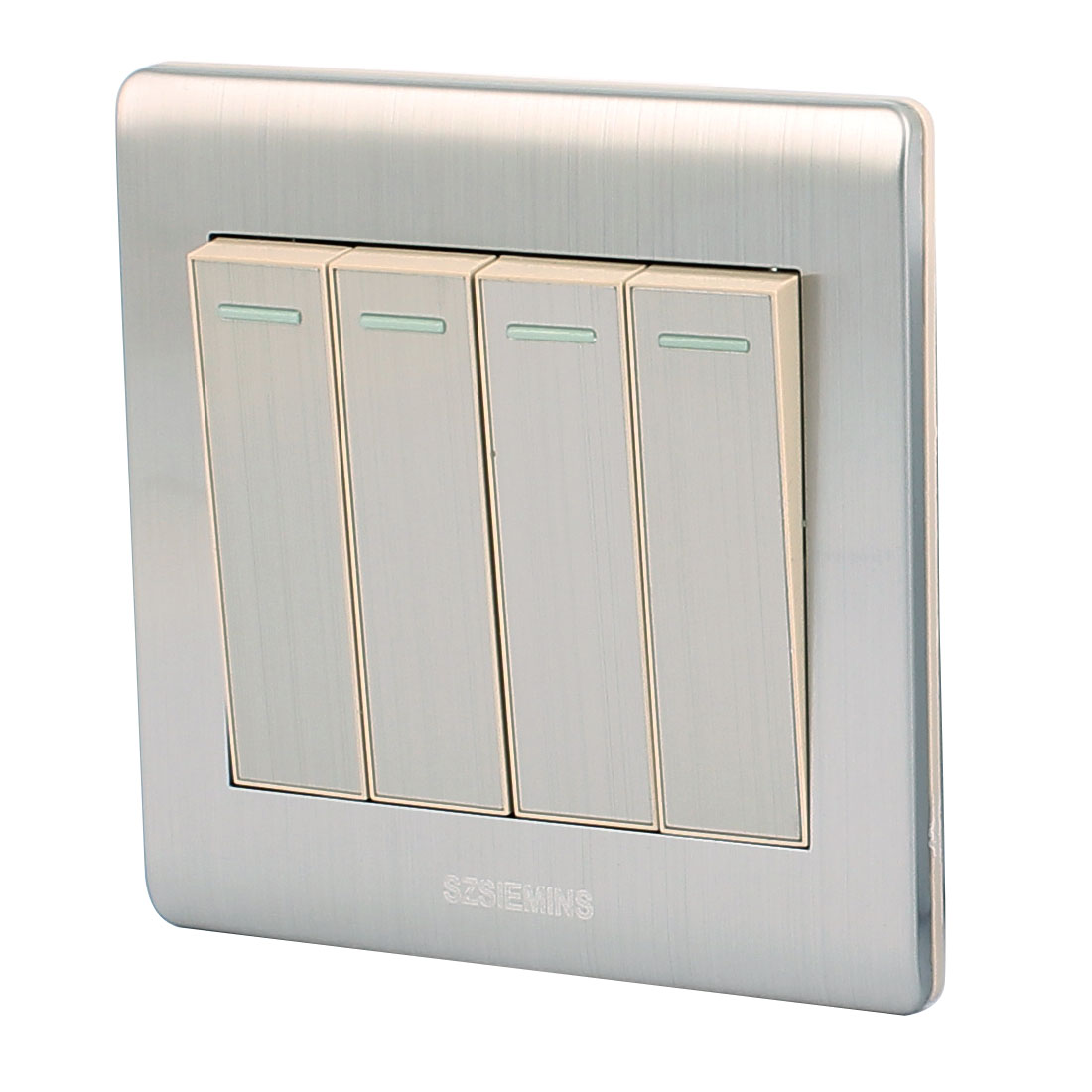 AC 250V 10A 4 Gang 1 Way On/Off Stainless Steel Well Designed Wall Light Switch
