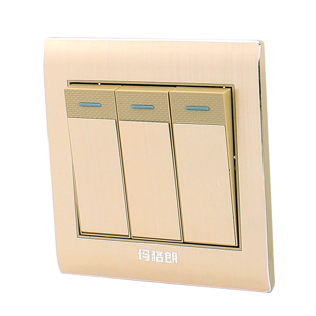 AC 250V 10A 3 Gang 2 Way On/Off Plastic Golden Rectangle Design Wall Light Switch
