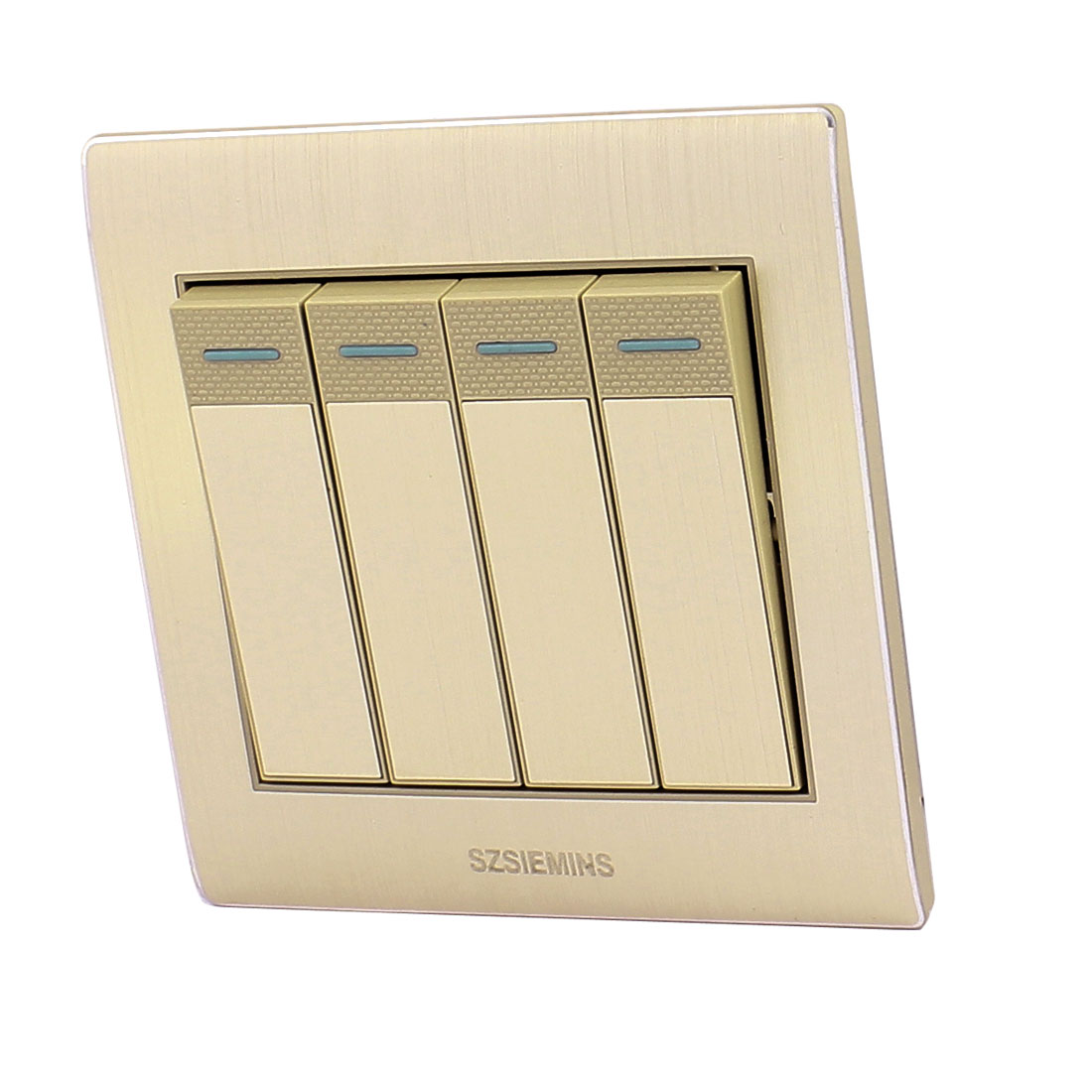AC 250V 10A 4 Gang 1 Way On/Off Golden Brushed Wall Light Switch Socket