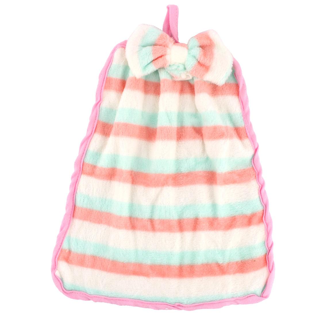Household Coral Velvet Stripes Designed Strap Hanging Hand Towel Tricolor