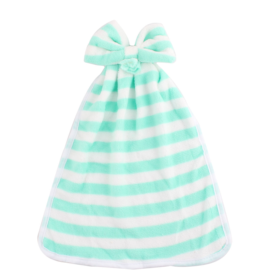 Home Kitchen Coral Velet Stripes Designed Wall Hanging Hand Towel Green White