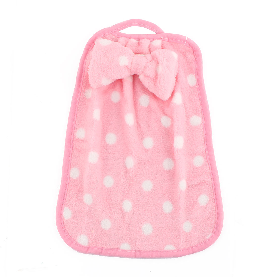 Household Kitchen Coral Velvet Dot Pattern Wall Hanging Hand Towel Light Pink White