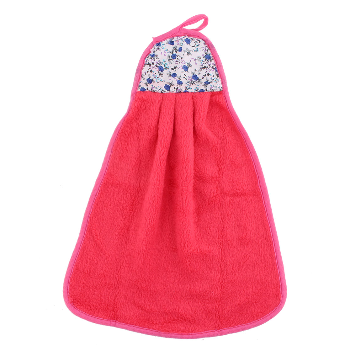 Home Kitchen Coral Velvet Floral Pattern Wall Hanging Hand Drying Towel Red